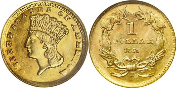 Indian Gold Dollar Type III