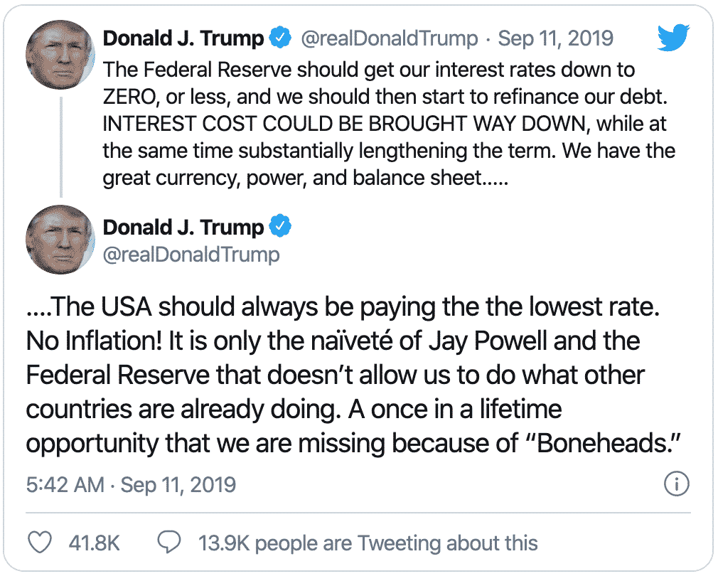 Trump calls for negative interest rates on September 11th